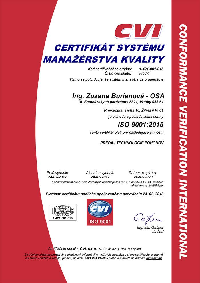 certifikát OSA